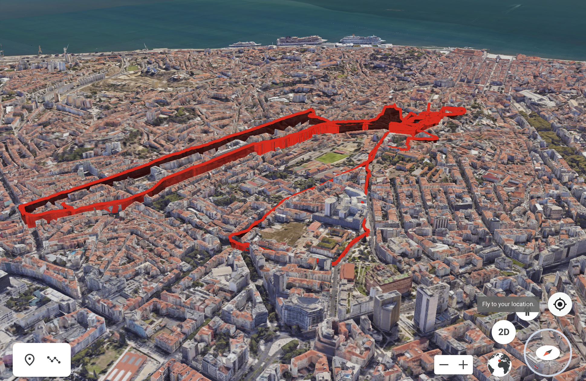 3d visualisation of air pollution in Lisbon, ride Y