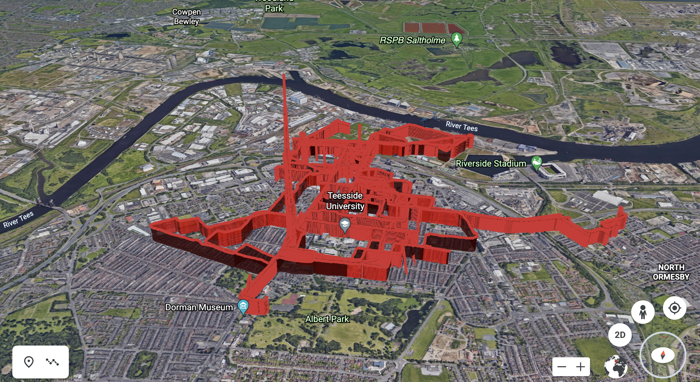 map of Middlesbrough with a red line plotting the cycle path and air pollution levels