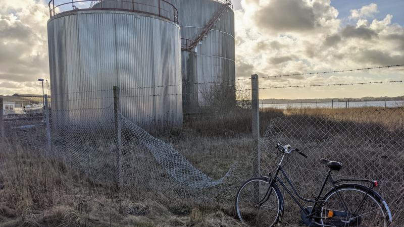 Bike near a silo